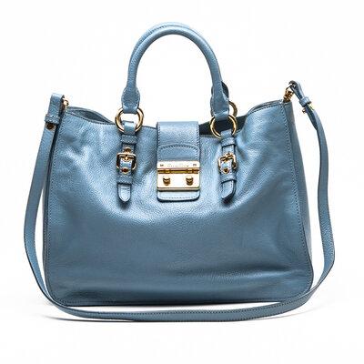 Bolsa Miu Miu Grained em couro azul