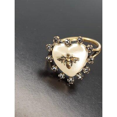 Anel Coração Christian Dior Dourado