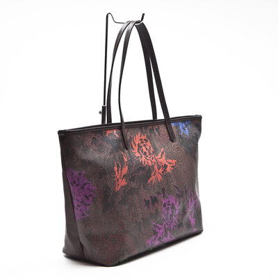 Bolsa Etro Leather Trimmed Printed Floral Paisley
