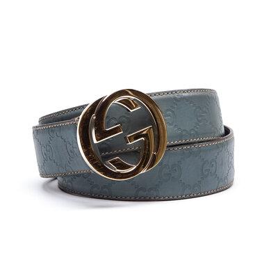 Cinto Gucci Couro Azul com Monograma