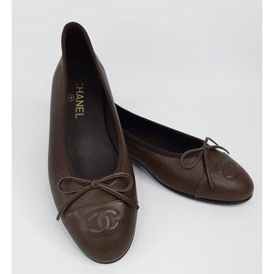 Sapatilha Chanel Bailarinas Couro Chocolate