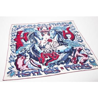 Lenço Hermès de Seda Estampado em Tons de Azul