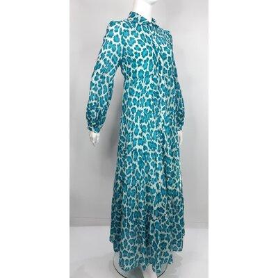 Vestido com Forro DVF Cotton/Seda Estampado/Azul