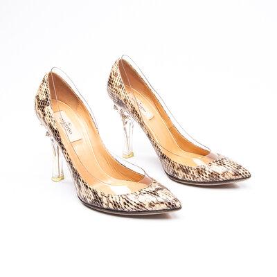 Sapato Valentino Phyton/ Salto Cristal Natural