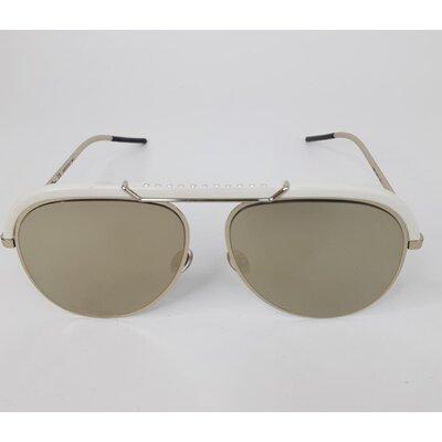 Óculos Christian Dior Desertic Espelhado Branco com lente espelhada