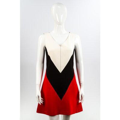 Vestido Louis Vuitton Crepe Preto/Vermelho/Branco