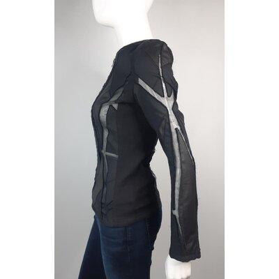 Jaqueta Iro Couro e Tecidos Preta