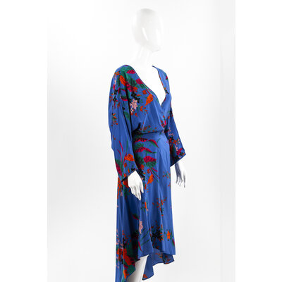 Vestido Dvf Seda Estampado Azul/Flores