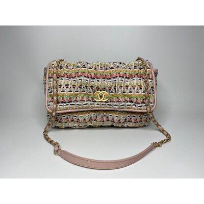 Bolsa Chanel Classic Tweed Medium Colorida