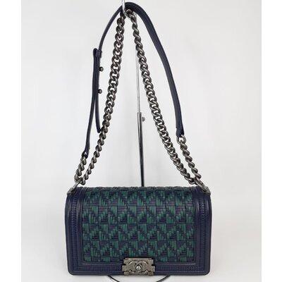 Bolsa Chanel Boy Medium Azul Marinho e Verde