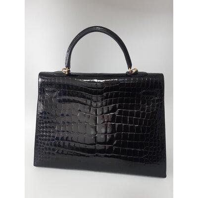 Bolsa Hermès Kelly 35 Crocodilo Preta
