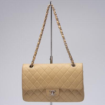 Bolsa Chanel Double Flap 255 Couro Marfin