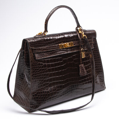 Bolsa Hermès Kelly 35 Crocodilo Marrom