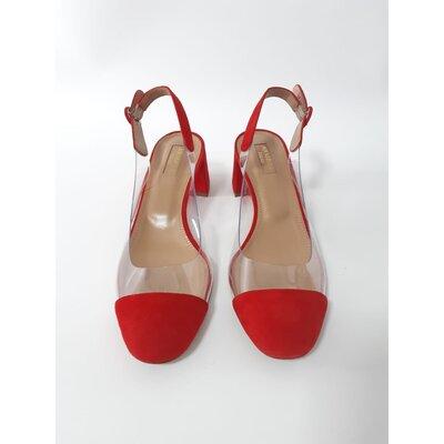 Sapato Aquazzura Camurça com PVC Vermelha