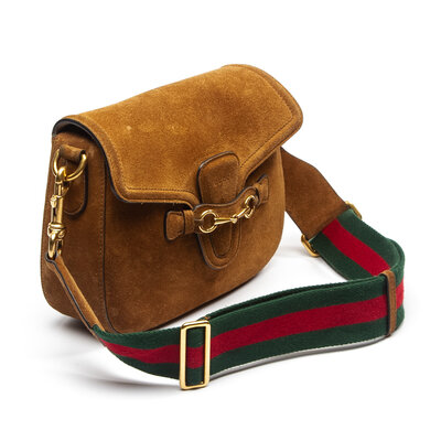 Bolsa Gucci Lady Web Camurça Caramelo