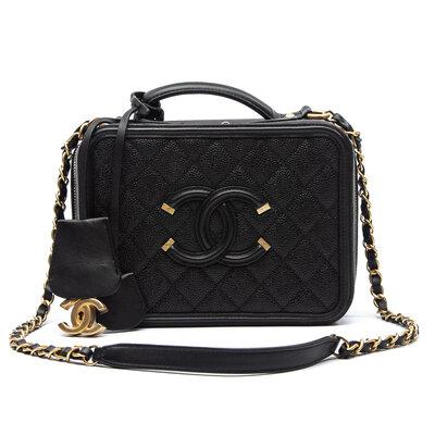Bolsa Chanel Small Filigree Vanity Preta