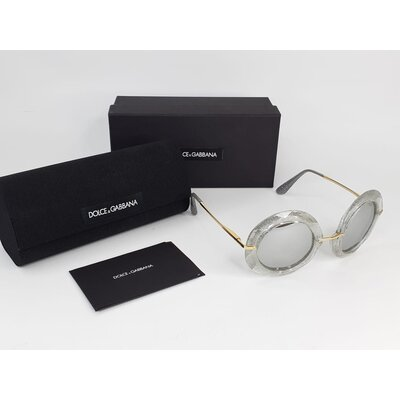 Óculos Dolce & Gabbana Redondo Glitter Prateado