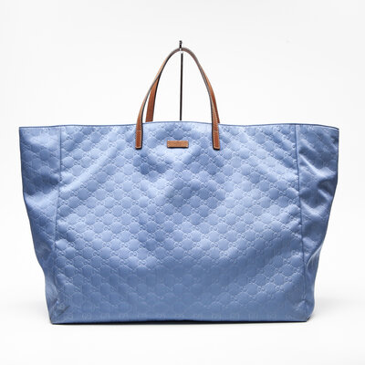 Shopping Bag Gucci Couro Azul Jeans