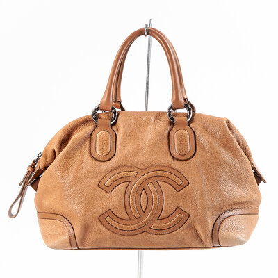 Bolsa Chanel Couro Bege