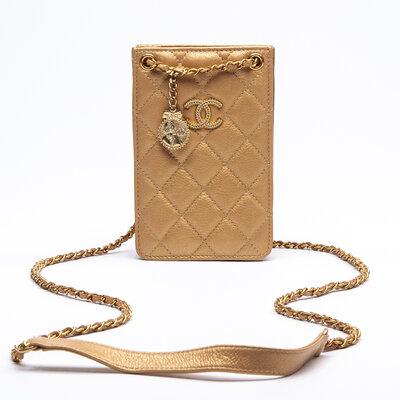 Crossbody Chanel Phone Holder Couro Matelassê Dourada