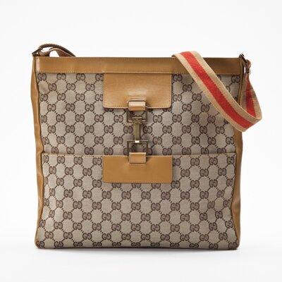Bolsa Gucci em tecido e couro logomarca