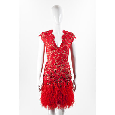 Vestido Matthew Williamson vermelho em renda com plumas