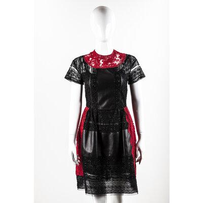 Vestido Valentino Renda/Couro Preto/Vermelho