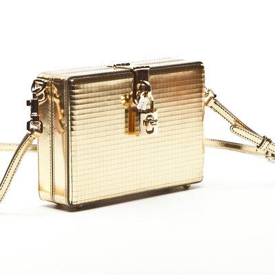 Clutch Dolce & Gabbana Box Cristal em dourado