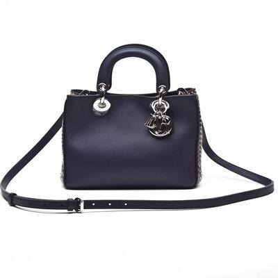 Bolsa Mini Diorissimo Couro/Phyton Azul Marinho