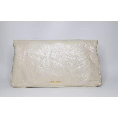 Clutch Miu Miu Fold Over Craquele Off White