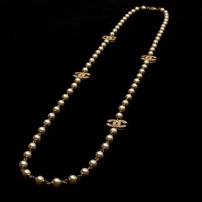Colar Chanel Pérolas com Dourado