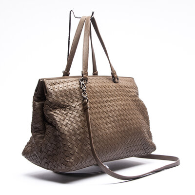 Bolsa Bottega Veneta Intrecciato Leather Kaki