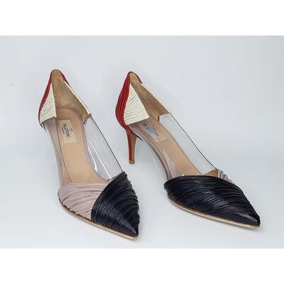 Sapato Valentino Couro Preto, Vemelho e Nude