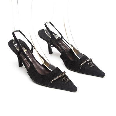 Sapato Chanel em Renda preto