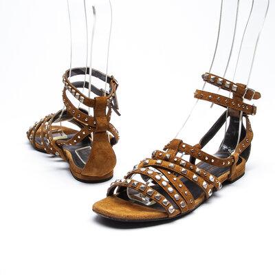 Sandália Yves Saint Laurent Camurça Mostarda