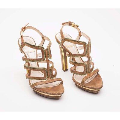 Sandalia Dior caramelo c/ correntes douradas