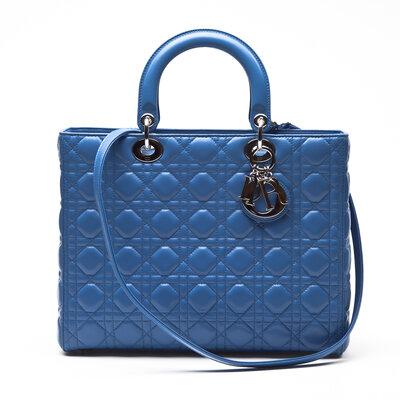 Bolsa Dior Lady Di Couro Large Azul Bic