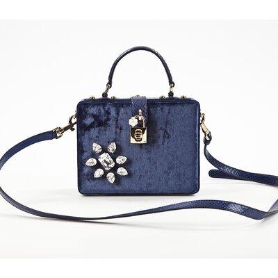Bolsa Dolce & Gabbana em veludo azul marinho com pedras