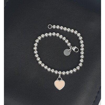 Pulseira Tiffany & Co Coração Rosa Prata