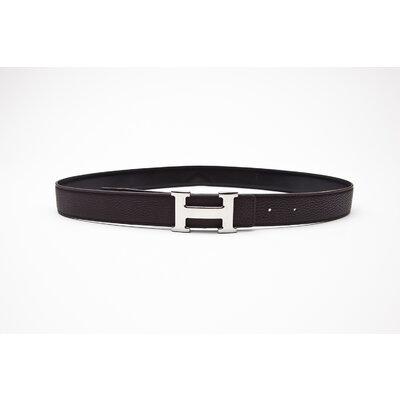 Cinto Hermès Double Flat em couro marrom e preto