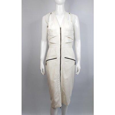 Vestido Dress & Co em Couro Off White