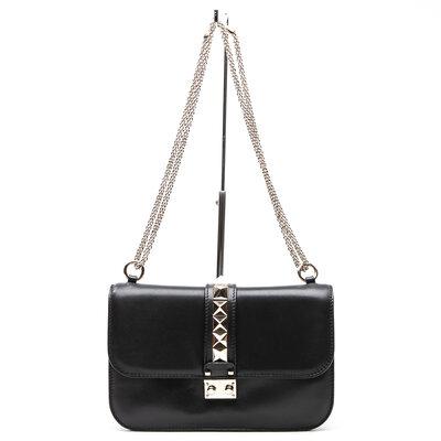 Bolsa Valentino Glam Lock em couro preta