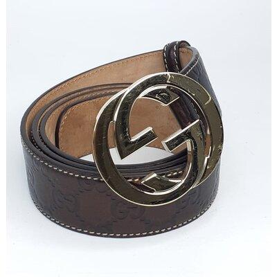Cinto Gucci GG Couro Marrom Metalizado com Ferragem Dourada