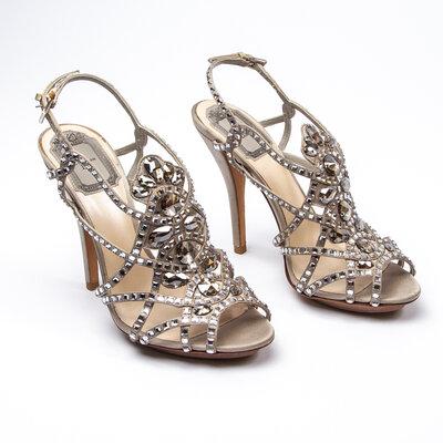 Sandália Christian Dior Strass Bronze