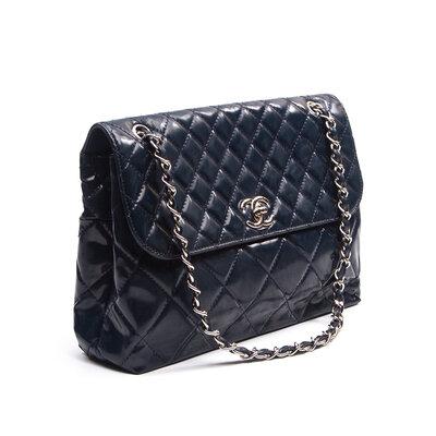 Bolsa Chanel Verniz Azul Marinho
