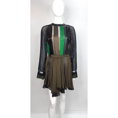 Vestido Louis Vuitton Malha e Couro Preto, Verde Oliva/Marrom