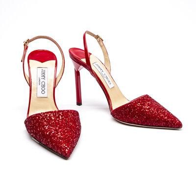 Sapato Jimmy Choo Paetê/Verniz Vermelho