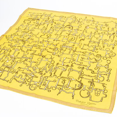 Lenço Hermès Seda Amarelo/Bege