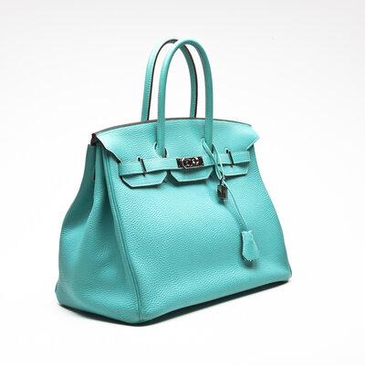 Bolsa Hermès Birkin 35 Clemence em turquesa