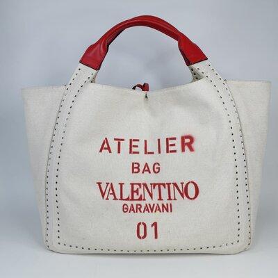 Bolsa Valentino Canvas com detalhe em Couro, Cru